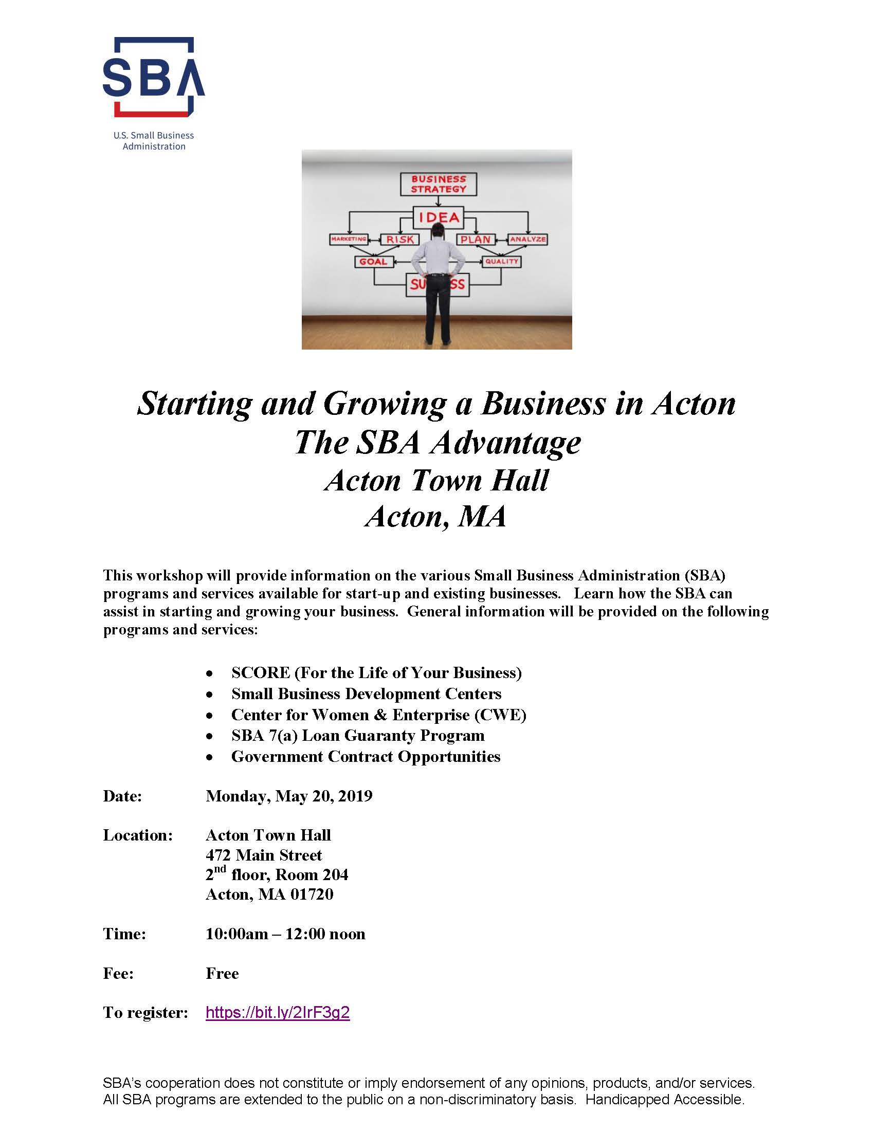 SBA Workshop at Acton Town Hall May 20