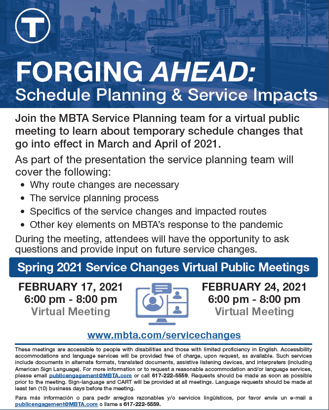 MBTA Spring 2021 Service Changes